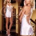 Sexy Laço de Cetim de Seda Robe Vestido Sleepwear Lingerie Camisola Chemise