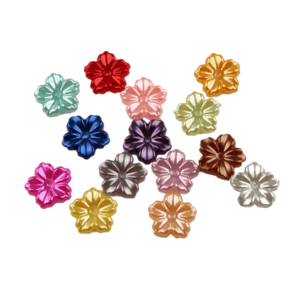 LF Mixed Flower Craft ABS Resin Half Pearls Flatback Cabochon Beads For Cloth Needlework DIY Scrapbooking Decoration 200PCS(China)