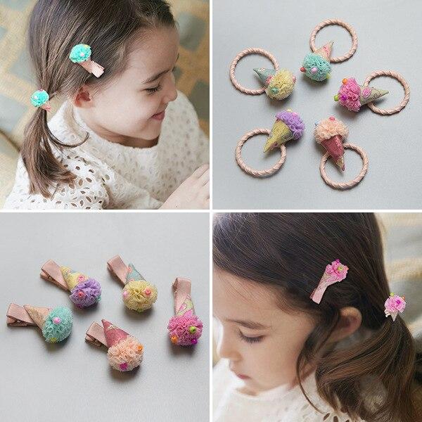 New Childrens Candy Color Cartoon Clip Coth Treasure Hairpin Cute Ice Cream Hair Head Shape Hair Clip Acessorio De Cabelo T