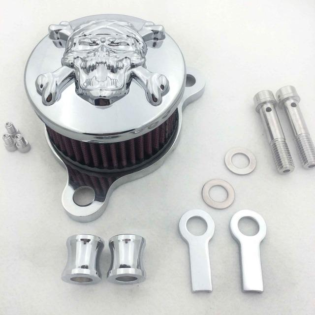 Reposição frete grátis peças do motor Kit Sistema de Air Filter Cleaner Intake Para Harley Sportster XL883 XL1200 1988-2005 CROMADO