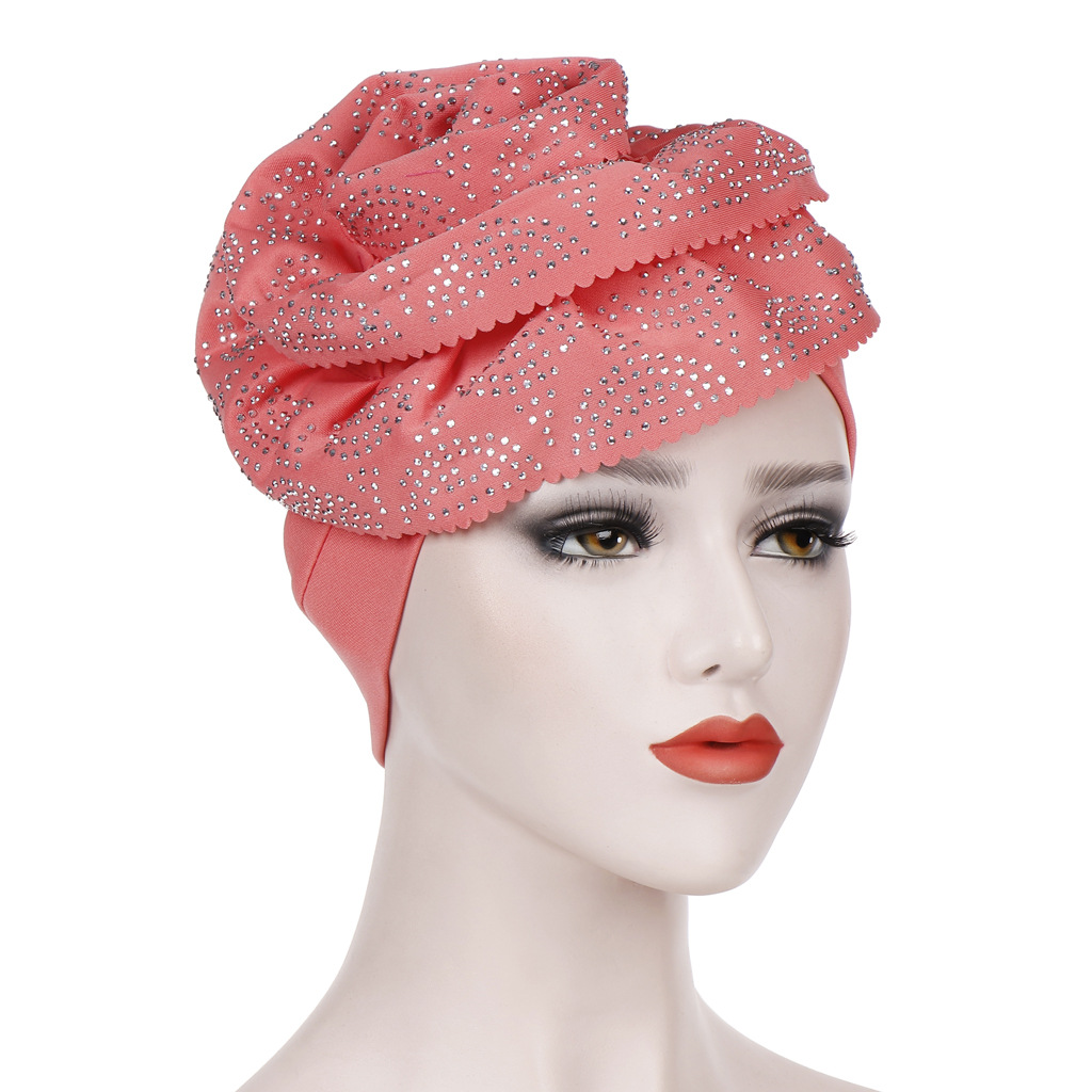 Large Flower Solid Color Headscarf Cap  Cotton Turban Hat Cancer Chemo Beanie Cap Headwear Wrap Plated Bonnet Hair Accessories
