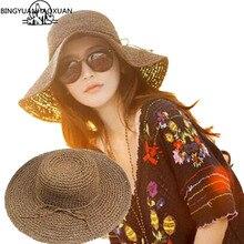BINGYUANHAOXUAN Summer Sun Hats For Women New Fashion Sombreros Wide Brim Beach Side Cap Floppy Female Straw Hat Chapeu de Praia