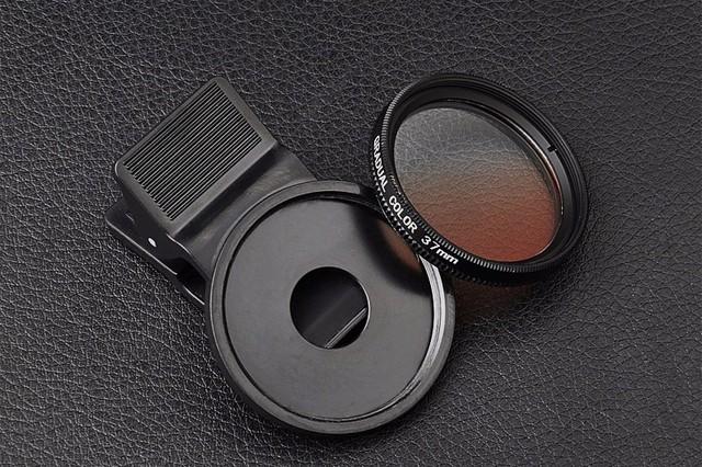 Teléfono móvil universal lente de la cámara 37mm gnd filtro gradual color de lentes para el iphone samsung lg g3 lenovo oneplus one xiaomi