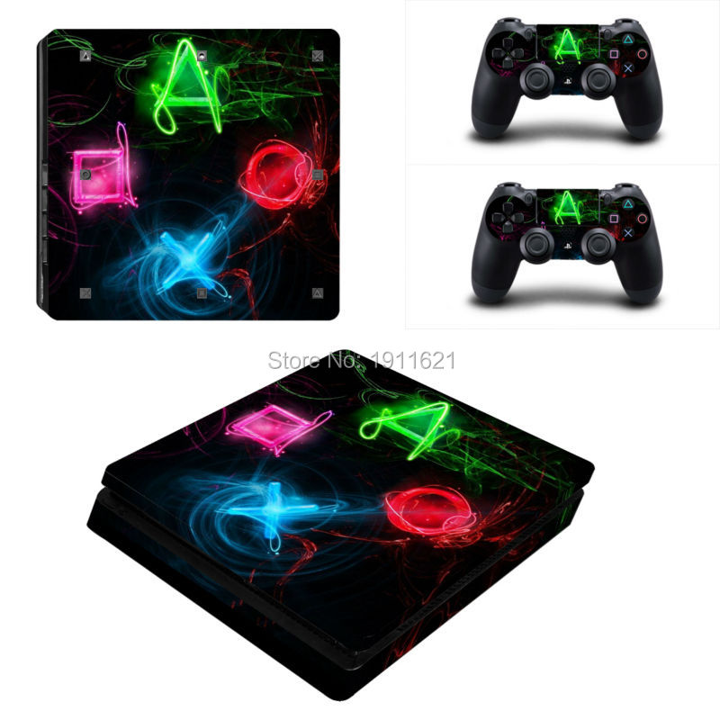 OSTSTICKER Protector skin cover for Sony PS4 slim console Games decal cover + 2pcs controller for ps4 slim console