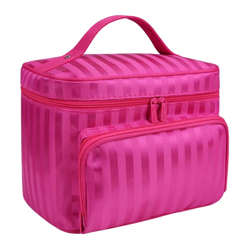 뜨거운 전문 화장품 가방 메이크업 가방 여행 주최자 케이스 뷰티 필요한 메이크업 스토리지 박스 핑크