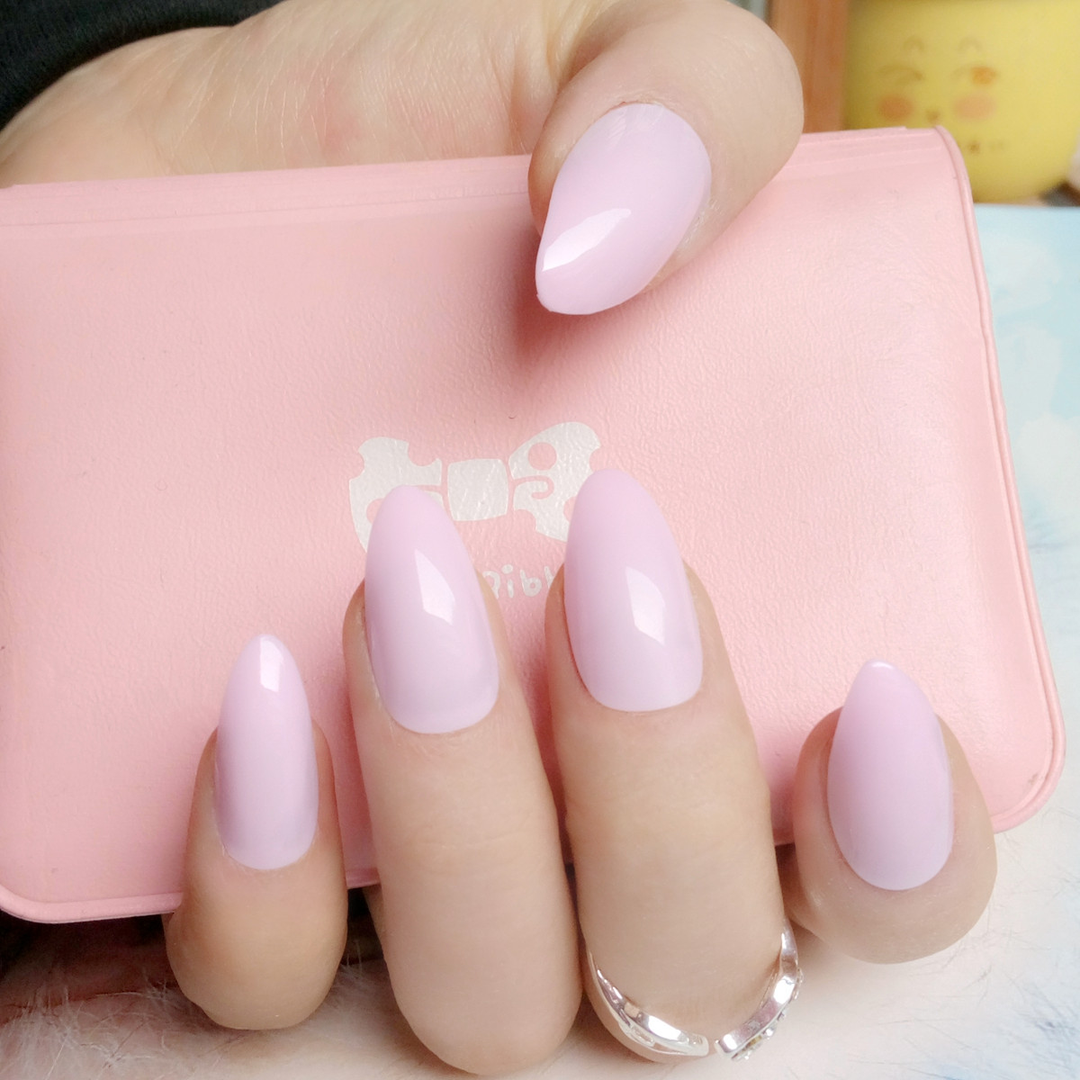 Candy Light Pink Stiletto Nails Tips Short Size Pointed Fake Nails ...