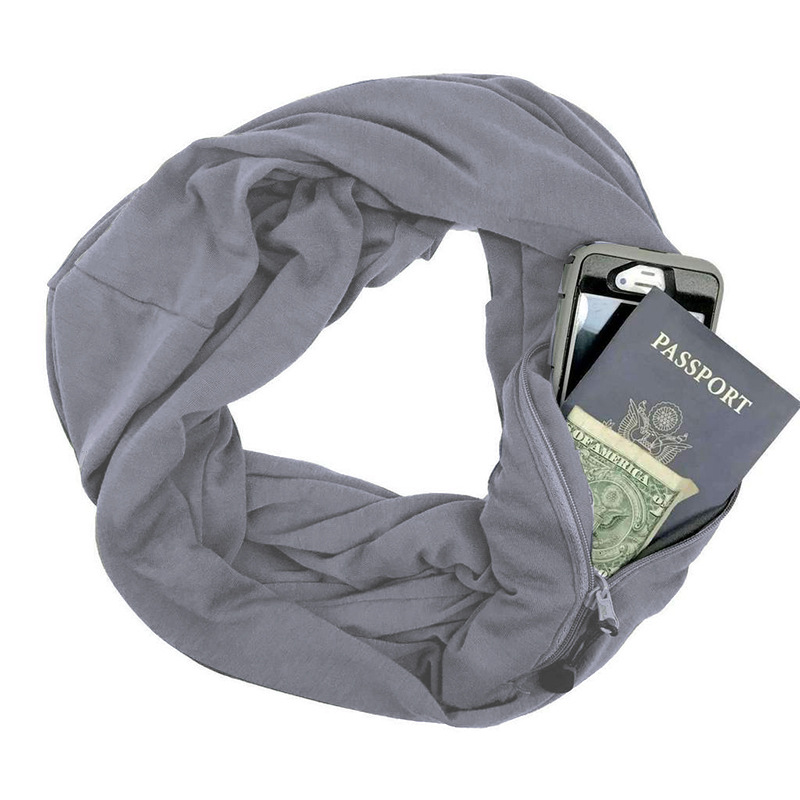 Nuevo 2018 suave cremallera bolsillo bucle bufanda mujer moda Otoño Invierno cálido azul sólido O anillo bufandas señoras infinito bufandas