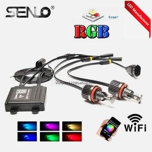 RGB WIFI E92 h8 led Ангельские Глазки меняющие цвета, кольцо для BM W E87 E82 E92 E93 E70 E71 E91 E60 E61 E63 E64, новинка 2017