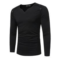 Marca hombres camiseta 2018 nueva moda Pure color moda V collar camisetas hombres Casual manga larga T-shirt tamaño m-XXXL YUJEI