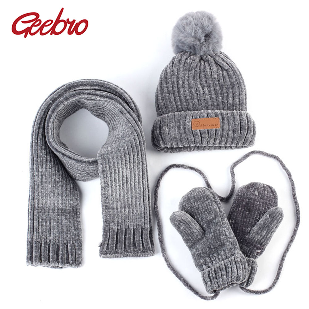 Geebro 0-3 Years Old Baby Hat Scarf Gloves Set Winter Warm Crochet Acrylic Slouchy Beanie And Scarf For Boys And Girls Kids