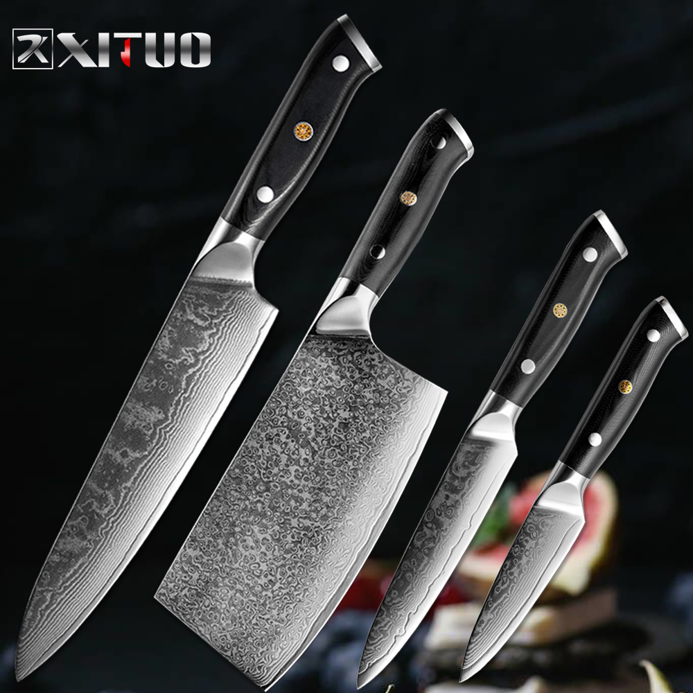 XITUOD Nuovo Damasco 67-strato di acciaio inox da cucina coltello da chef sharp coltello set di Sankotu Cinese coltello da cucina coltelli da cucina set cucina