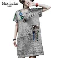 マックスルル2018夏の高級韓国ファッションの女の子スパンコールストリートレディースヴィンテージミニドレスvネックvestidos女