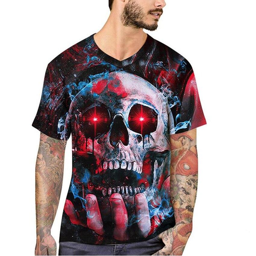 Asian fashion big t shirt men high-end business casual T-shirt high quality skull and crossbones 3D printed hip hop men T-shirt.