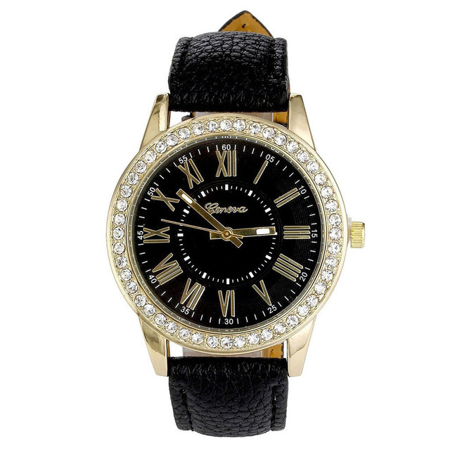 Splendid Fashion Rhinestone Watches Women 2017 Luxury Brand Leather Band Bracelet watches Ladies Quartz Dress Watches Dropship