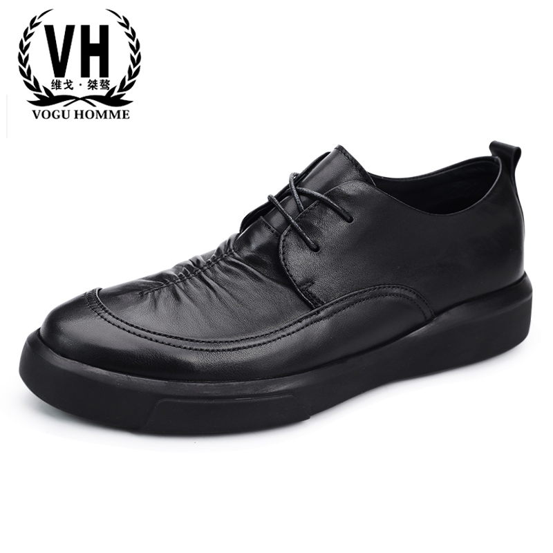 autumn winter new men s business casual shoes Genuine leather retro British all match cowhide fashion