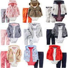 цена на 3pcs Girl Clothing Cotton Baby Girls Boy Sets For Newborns Children Set Babies Hooded Long Sleeve Baby Sets Cute Kids Clothes