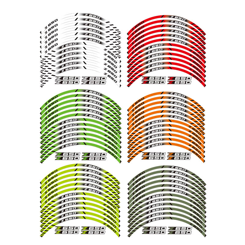 12 X Thick Edge Outer Rim Sticker Stripe Wheel Decals FIT ALL Kawasaki Z650