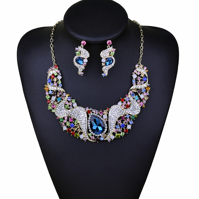 2016 New Africa Crystal Necklace Earring Bridal Jewelry Sets Wedding Party Accessories Gift For Women NER-G012