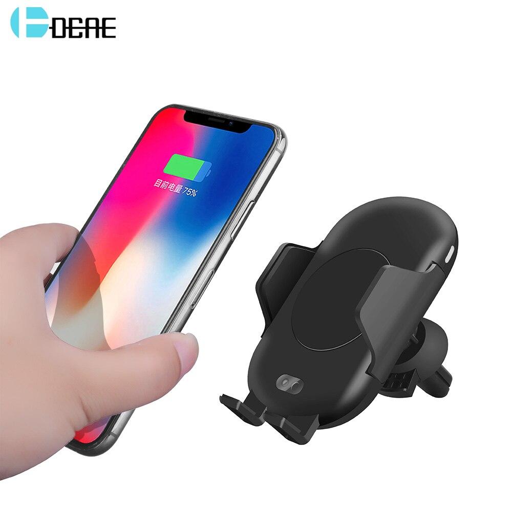 DCAE Qi Drahtlose Auto Ladegerät Für iPhone X 8 XS Max XR Samsung S8 S9 Automatische Infrarot Sensor Air Vent halter 10 watt Schnelle Lade