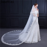 JaneVini New Two Layers Bridal Veil Long Cathedrals Ivory Lace Edge Women Wedding Vail Veils With Comb Lange Sluier 3meter White