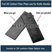 FREE SHIPPING 100% carbon fiber fabric on surface and inside ,8mm thickness carbon fiber plate used for knife handle