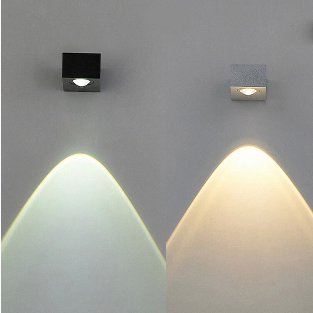 Aluminum square light direct downward 5w cob led wall modern lighting warm white in led indoor wall lamps from lights lighting on aliexpress com alibaba