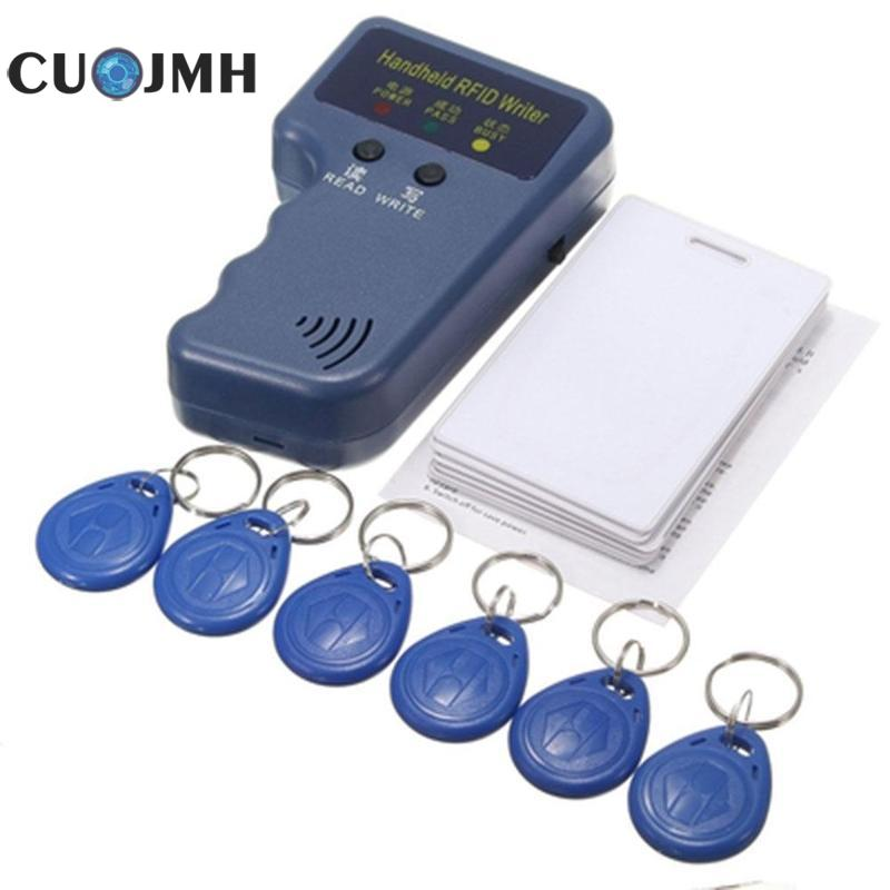 1 Set 125KHz Rfid Copier Writer Duplicator Programmer Reader + 6pcs Smart Rewritable Rfid Id Key Fobs Tags Card Dropshipping free shipping waterproof proxi rfid reader 125khz smart card reader rfid reader rfid duplicator duplicator key
