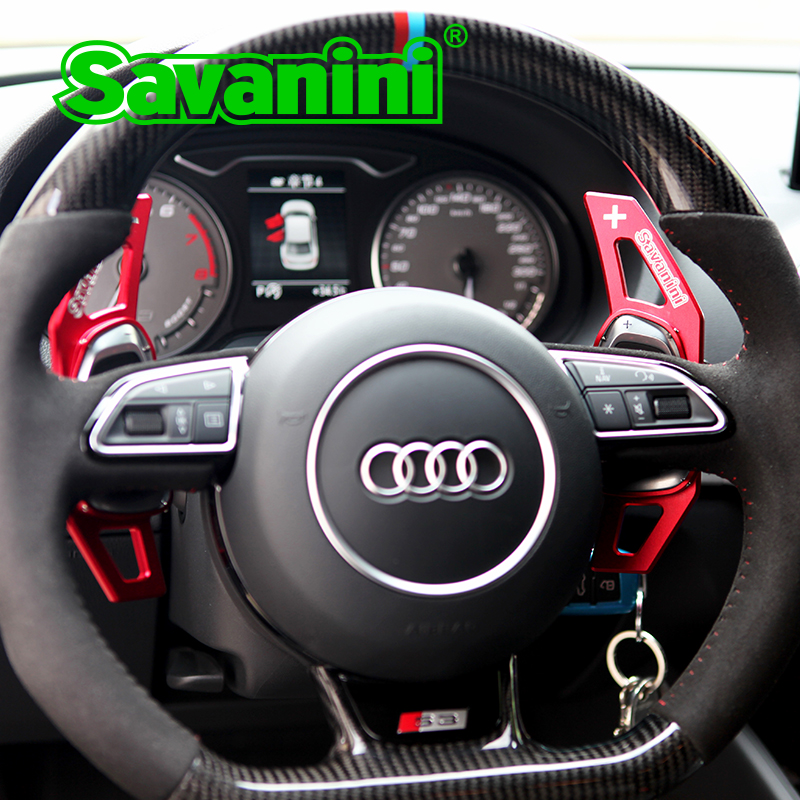 Savanini Aluminum 2pcs Steering Wheel Shift Paddle Shifter Extension For AudiS3,S8,SQ5,RS 5,RS 7 auto car styling sticker free rs 2pcs 139