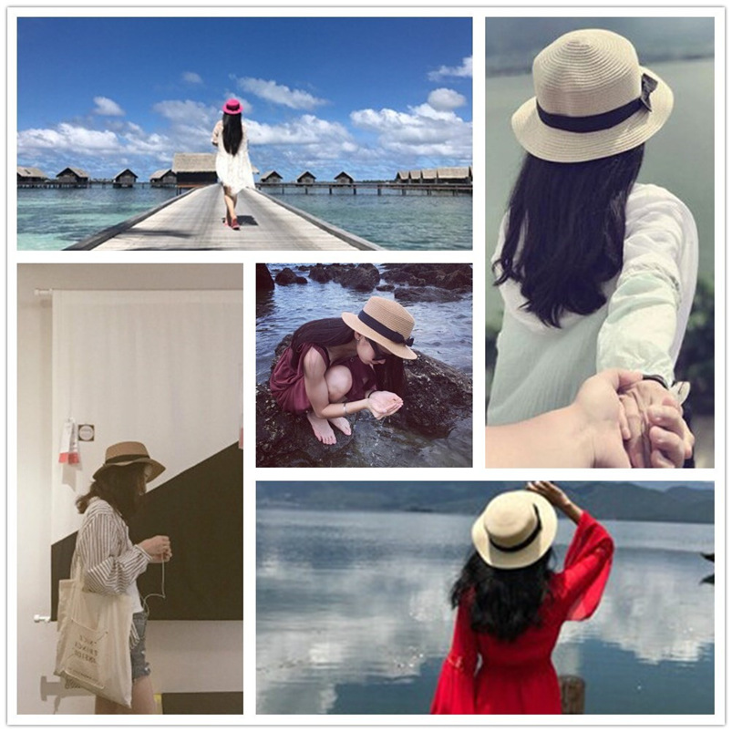 3627721c Sunhat Men Women 2018 Summer New Solid Cap Bow Casual Beach Sun Straw  Cowboy Style Hat ...