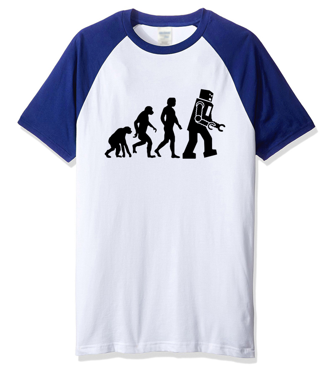 T-shirt 2018 print The Big Bang Theory Robot Evolution T-shirt top summer casual mens T- ...