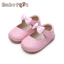 Fashion Baby Girl First Walkers Newborn Soft Anti-slip Cow Muscle Sole Breathable Hook & Loop Lattice Bow Decoration Shoe