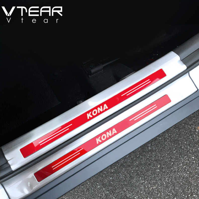 Vtear For hyundai Kona Encino 2018 accessories car Inside Door Sill Protector Pedal Scuff Plate Cover Trims Stainless Steel jy sus304 stainless steel black door sill scuff plate molding trims car styling accessories for toyota hiace 200