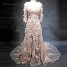 Romantyczna syrenka suknie wieczorowe wyszywane koralikami 2018 z potargane na ramię z długim rękawem Engagement Party suknia wieczorowa vestido longo de festa