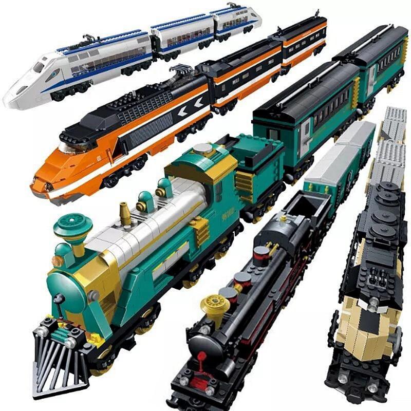 KAZI Technic Creator City Train Station Tracks Rail Power Function Motor Building Blocks Bricks DIY Toys For Children