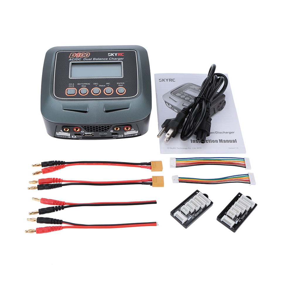 AC/DC LiPo 1-6s SKYRC D100  2x100W  Dual Balance Charger Discharger Lipo LiFe Li-ion NiMh PB skyrc d100 2 100w ac dc dual balance charger 10a charge 5a discharge nimh lipo battery charger twin channel charge