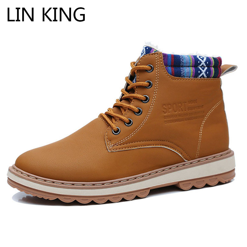 LIN KING Fashion Winter Boots For Men Warm Plush Combat Army Boots Thick Sole Waterproof Lace Up Short Botas Man Cotton Shoes