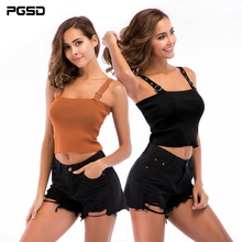 PGSD Simple Fashion Pure Colored Women Clothes Knitted suspender sweater sexy tight vest lady summer bottom