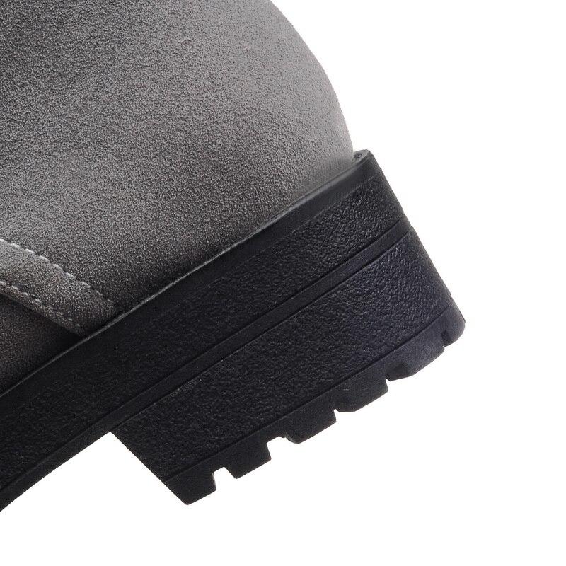 Automne Daim Coins Bottes Fétiche 2018 forme Femmes Noir Plate Chaussons vert Chaussures Cheville Lacent Chaud Vert Caoutchouc gris Des Martin En Hiver BW7An7p