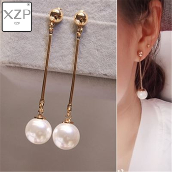 XZP Korean OL Simulated Pearl Long Tassel Bar Brincos Drop Earrings For Women OL Style Sweet Dangle Brincos Party Jewelry Gift image