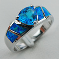 Blue Simulated Topaz Blue Opal 925 Sterling Silver  Ring Size 6 7 8 9 10 R1292