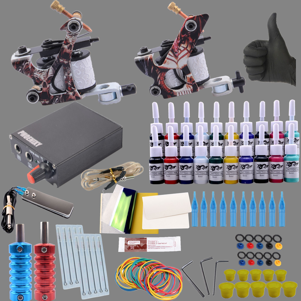 Beginner Tattoo Kits 2 Tattoo Guns Machine 10 Ink Sets Power Supply Needle Pedal Tips Cheap Tattoo kit Free Shipping