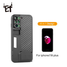 ET 6 in 1 Multifunctional Phone Lens Cover Case Dual Camera Lenses Fisheye Telephoto Wide-angle Macro Lens for iPhone 7/8 Plus недорого