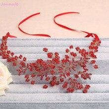 Jonnafe Red Beaded Women Prom Headband Wedding Tiara Rhinestone Bridal Hair Piece Accessories Jewelry Handmade