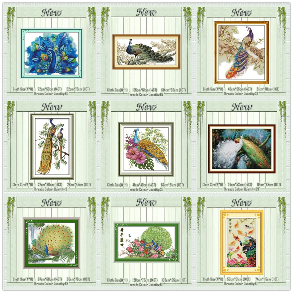Green Forest Peacock Animal Decor Paintings Counted Printed On Canvas DMC 11CT 14CT Cross Stitch Kits Embroidery Needlework Sets