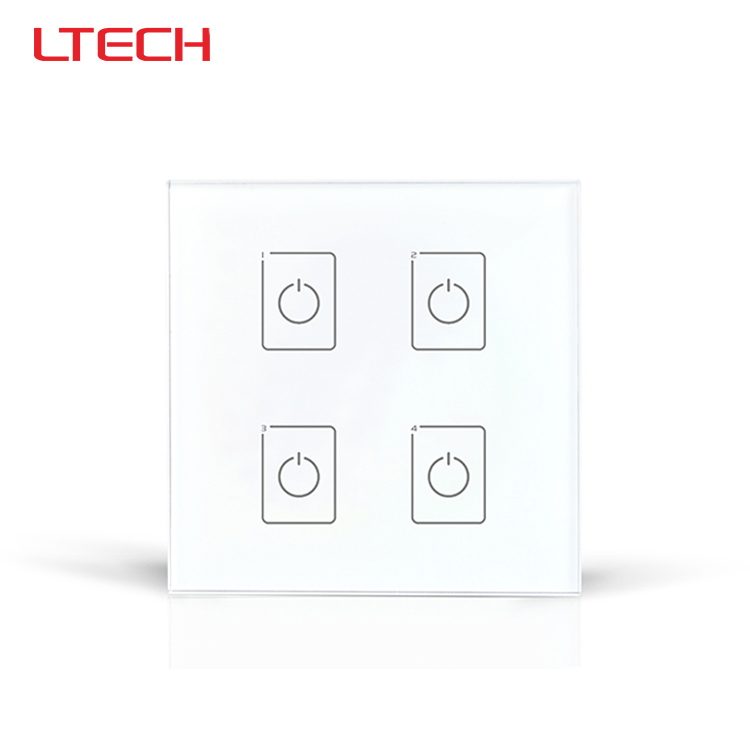 DA4 DALI Wall Mount LED Touch Panel,4CH On/Off Switch Dimmer ltech da6 wall mount knob panel dali dimmer controller on off switch 64 single address 16 group address and broadcast address