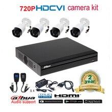 Dahua original 720P DH-HAC-HFW1000R waterproof CVI IR Bullet Security Camera with H.264 4CH CVI DH-XVR4104HS camera kit