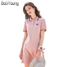 Babyoung Roze Polo Jurk Vrouwen Casual Katoen Korte Mouw Polo Kraag Met Bee Geborduurde Jurken Zomer Vestidos Plus Size 3XL
