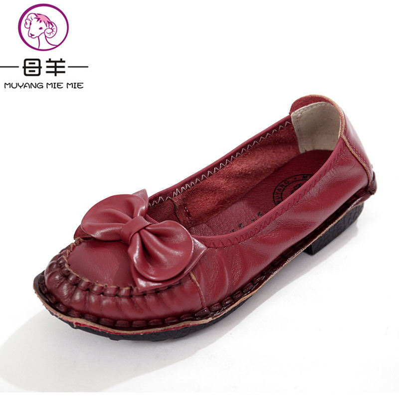 MUYANG MIE MIE Women Flats 2018 Fashion Spring Casual Flat Shoes Woman Genuine Leather Shoes Female Soft Loafers Women Shoes muyang new 2017 women shoes genuine leather flats round toe bowtie soft comfortable flat shoes spring autumn casual female shoes