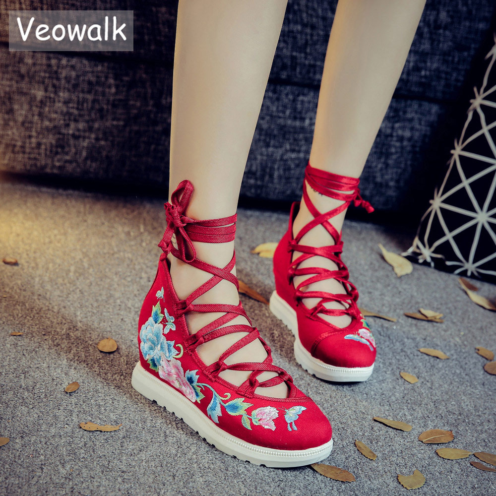 Veowalk Gladiator Style Women Lace up Floral Embroidered Canvas Flat Platforms Mid Top Ladies Casual Cotton Shooes Zapatos Mujer все цены