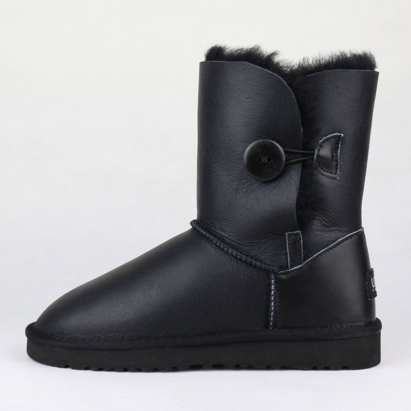 Top Quality Genuine Sheepskin Leather Women's Snow Boots 100% Natural Fur Warm Wool Inside Winter Boots Women Boots Winter Shoes-in Mid-Calf Boots from Shoes    2
